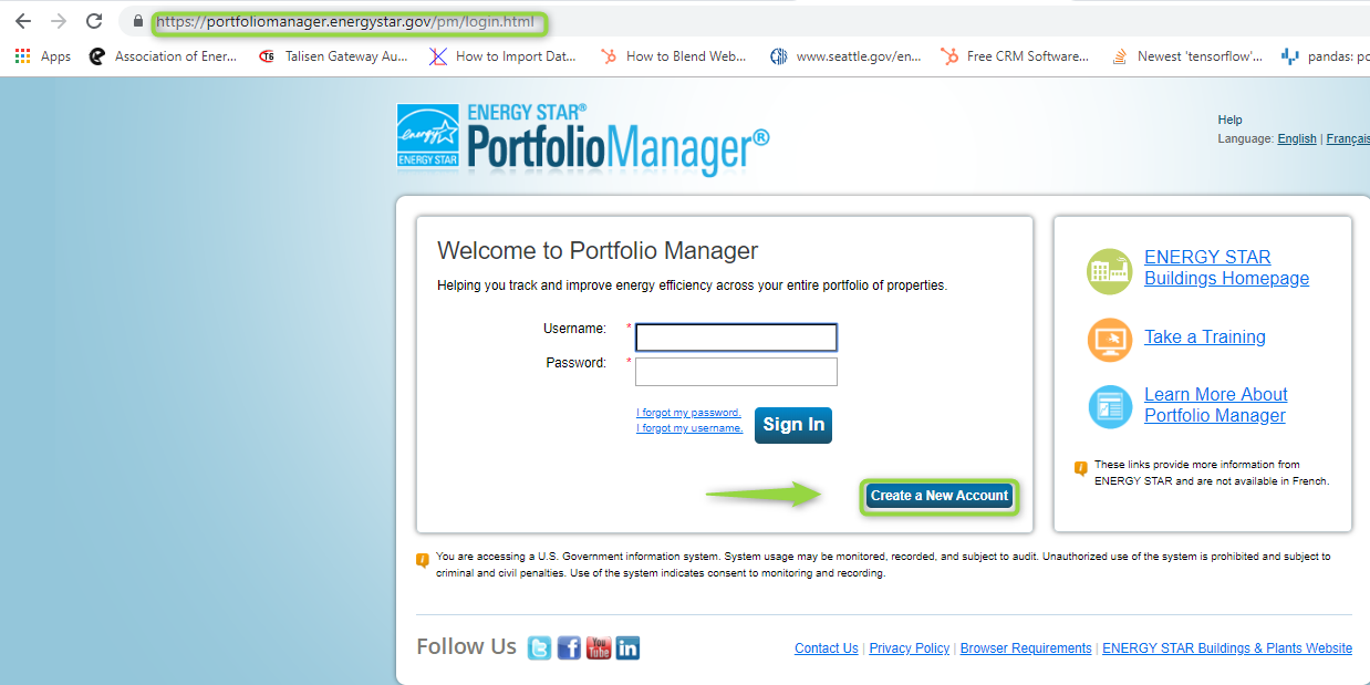 Energy Star Portfolio Manager, Create New Account