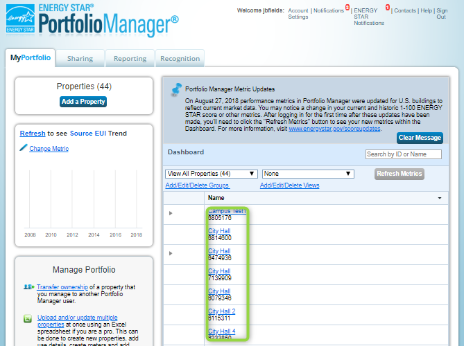 Energy Star Portfolio Manager Home