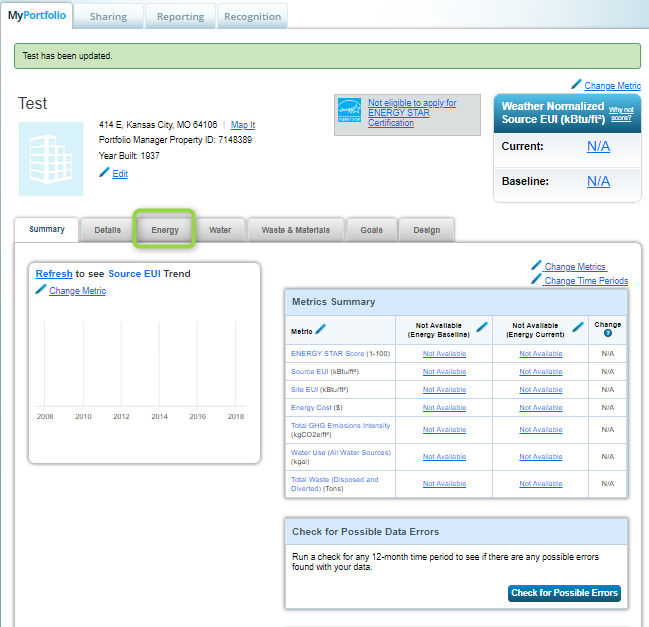 Energy Star Portfolio Manager Energy Tab