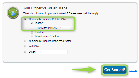 Energy Star Portfolio Manager Choose Water Meter