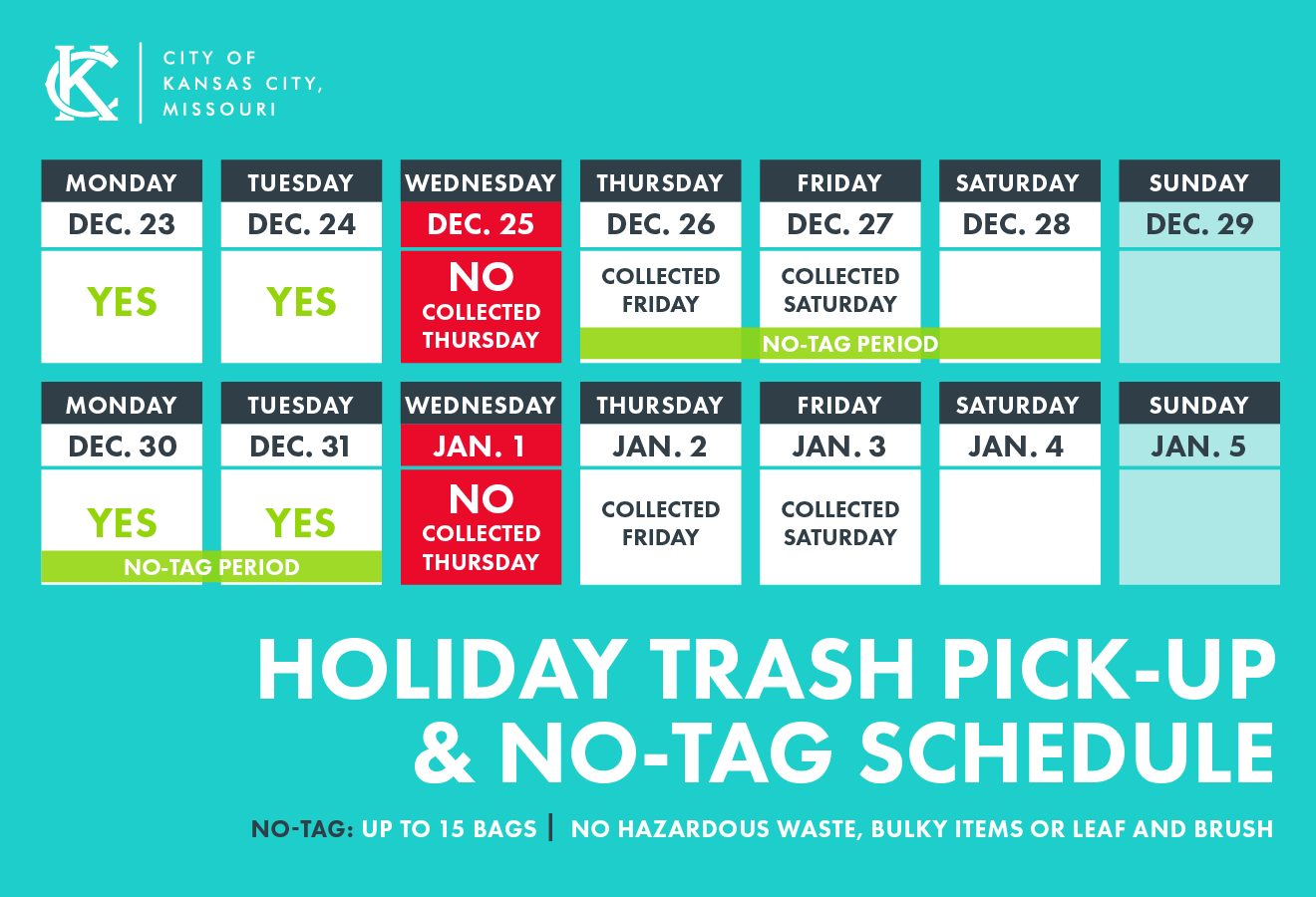 Holiday Trash Schedule 2019